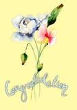 Stylizowani dzicy kwiaty z tytułową gratulacje royalty ilustracja