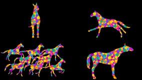 Stylizowani konie 7 różnych animacj Alfa kanał Alfa matte 4K zbiory wideo