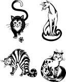 Stylizowani koty elegancja i pełen wdzięku koty -. royalty ilustracja