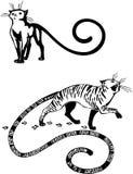 Stylizowani koty elegancja i pełen wdzięku koty -. ilustracji