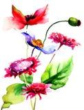Stylizowani kwiaty Zdjęcia Stock