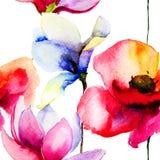 Stylizowani kwiaty ilustracyjni Fotografia Royalty Free