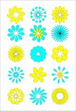 Stylizowani kwiaty ustawiający Zdjęcia Royalty Free