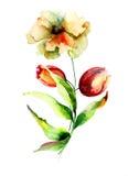 Stylizowani lato kwiaty Fotografia Stock