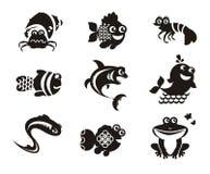 Stylizowani morscy zwierzęta na białym tle Fotografia Stock