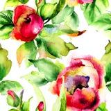 Stylizowani róża kwiaty ilustracyjni Fotografia Stock