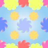 Stylizowani stubarwni kwiaty na gradientowym błękitnym tle ilustracji