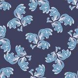 Stylizowany Błękitny fala wzór na zmroku - błękitny tło Zdjęcie Stock