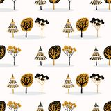 Stylizowany Drzewny Drewniany Wielostrzałowy Bezszwowy wzór, ręka Rysujący rocznika styl royalty ilustracja