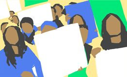 Stylizowany ilustracyjny obraz kobieta marsz protestacyjny z pustym podpisuje wewnątrz kolor ilustracja wektor