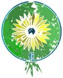 Stylizowany kolorowy kwiat robić z punktami w dekoraci odizolowywającej Obraz Stock