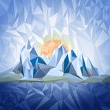Stylizowany krajobraz w origami stylu Obrazy Royalty Free