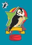 Stylizowany kreskówki sowy ptak brązu i koloru żółtego piórka wliczając drugi warianta z bezbarwnym ptakiem w konturu stylu, Obraz Stock