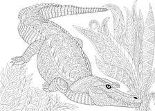 Stylizowany krokodyla aligator royalty ilustracja