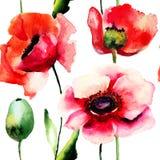 Stylizowany maczek kwitnie ilustrację Obrazy Royalty Free