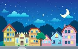 Stylizowany miasteczko przy nocą Obraz Royalty Free