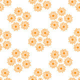 Stylizowany Pomarańczowy słońce promieni wzór na Białym tle Fotografia Stock