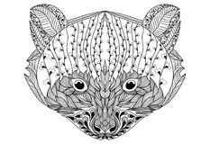 Stylizowany portret szop pracz Ornamentacyjny portret niedźwiedź Głowa jest małym pandą Liniowy Rath Zentangle Tatuaż royalty ilustracja