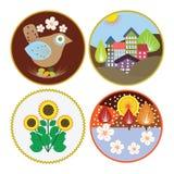 Stylizowany ptak, domy, kwiaty i drzewa, Obraz Royalty Free