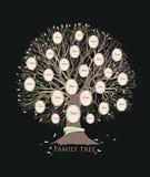 Stylizowany rodzinny drzewo lub zarodowy mapa szablon z gałąź i round fotografii ramami odizolowywającymi na czarnym tle ilustracja wektor