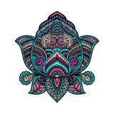 Stylizowany stubarwny ornamentacyjny Lotosowy kwiat, etniczna sztuka, wzorzysty indianin Paisley szczotkarski węgiel drzewny rysu Zdjęcie Stock