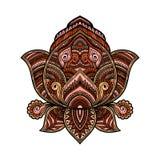 Stylizowany stubarwny ornamentacyjny Lotosowy kwiat, etniczna sztuka, wzorzysty indianin Paisley szczotkarski węgiel drzewny rysu Zdjęcia Royalty Free