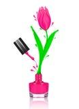 Stylizowany tulipanowy kwiat robić z pluśnięciami gwoździa połysk zdjęcie stock