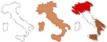 Stylizowany Włochy w trzy fantazi odizolowywającej obrazy royalty free