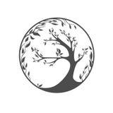 Stylizowany wektorowy drzewo na ornamentu tle ilustracji