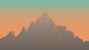 Stylizowany wizerunek góry przy wschodem słońca Zdjęcia Royalty Free