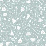 Stylizowany wzór, ludowa sztuka, kwiecisty ornament w błękitnych popielatych kolorach Bezszwowy deseniowy wektorowy tło dla tapet royalty ilustracja
