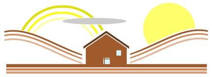 Stylizowany zielony dom w łące z słońcem odizolowywającym royalty ilustracja