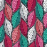 Stylizowanych kolorowych liści bezszwowy wzór Natury cechy ogólnej tekstury Ręka rysujący dekoracyjny kwiecisty ornamentacyjny tł ilustracji