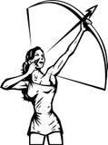 stylizująca łuczniczki kobieta Zdjęcie Royalty Free