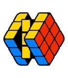Stylizujący prawie rozwiązany sześcian z błękitną czerwienią i kolorem żółtym ukazuje się Nowożytnego projekt odizolowywającego n royalty ilustracja