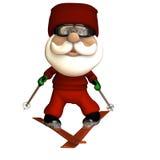 stylizujący Santa narciarstwo ilustracja wektor