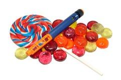 Stylo et sucrerie diabétiques d'insuline Image stock