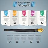 Stylo, encre, icône d'éducation Affaires Infographic Images stock