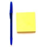 Stylo et note bleus Images stock