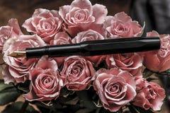 Stylo et roses - fond de vintage images libres de droits