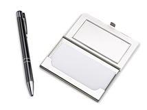 stylo för hållare för affärskortfall royaltyfria foton