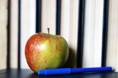 Stylo grunge de pomme de pile de livre d'éducation de photo d'effet Photographie stock