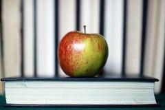 Stylo grunge de pomme de pile de livre d'éducation de photo d'effet Photographie stock libre de droits