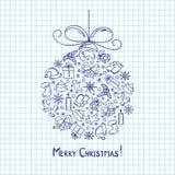Stylo peint par boule de Noël dans un carnet illustration libre de droits