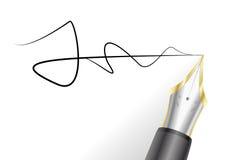 Stylo-plume avec la signature Images libres de droits