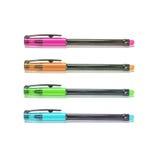 Stylos de plan rapproché, stylo rose, stylo brun, stylo vert, stylo bleu d'isolement sur le fond blanc Photographie stock libre de droits