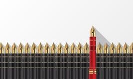 Stylos gris et un stylo rouge Pensez le concept différent illustration de vecteur