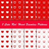 8 Stylowy śliczny czerwony serce w białego i czerwonego tła bezszwowym wzorze ilustracja wektor