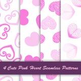 4 Stylowy śliczny różowy serce w białego tła bezszwowym wzorze royalty ilustracja
