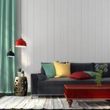 Stylowy wnętrze błękitna kanapa i czerwony stół z zmrokiem - Obrazy Royalty Free